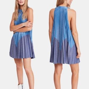 Free People Blue Ombre Pleated Dress M NWOT